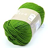 MEXUD-Bamboo Baby Soft Yarn Crochet Cotton Knitting Milk Cotton Yarn Knitting Wool Thick Yarn for Scarf Sweater (Grass Green)