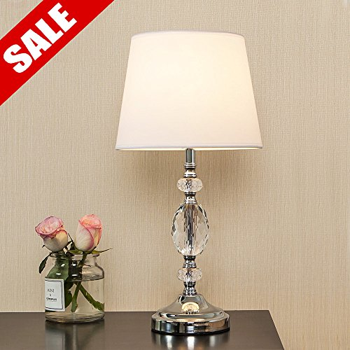 Table Chrome Living Room (POPILION Decorative Chrome Living Room Bedside Crystal Table Lamp,Table Lamps With White Fabric Shade for Bedroom Living Room Coffee Desk Lamp)
