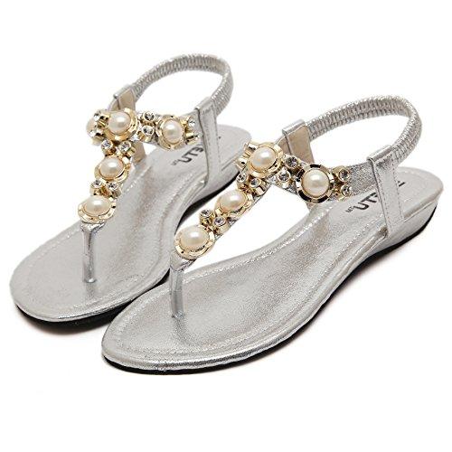 Smilun Damen Sandalen Zehentrenner Glänzende Perle Schmuckelemente Pumps Silber