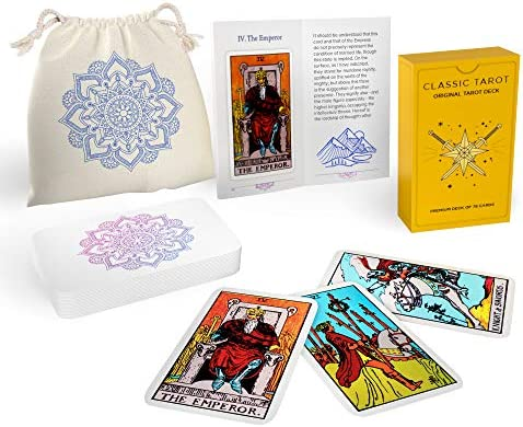 Sagesight Classic Design Tarot Cards Deck with Guidebook & Linen Carrying Bag - Original Pamela Colman Smith Artwork - Vibrant Ink & Rich Colors - Premium Linen Finish - Durable Tarot Deck (Light)