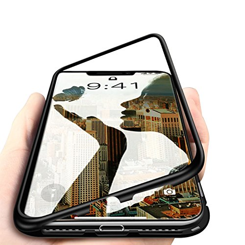 iPhone X Case,MISSCASE Full Body Slim Fit Ultra-Thin Case Lightweight,[Magnetic Adsorption Technology] [Support Wireless Charging](Black Frame + Clear Back)