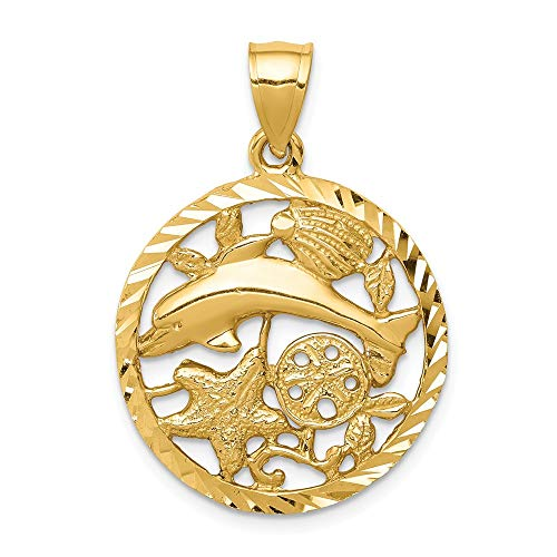 14k Yellow Gold Framed Dolphin Sea Shell Mermaid Nautical Jewelrys Pendant Charm Necklace Life Shore Fine Jewelry Gifts For Women For Her