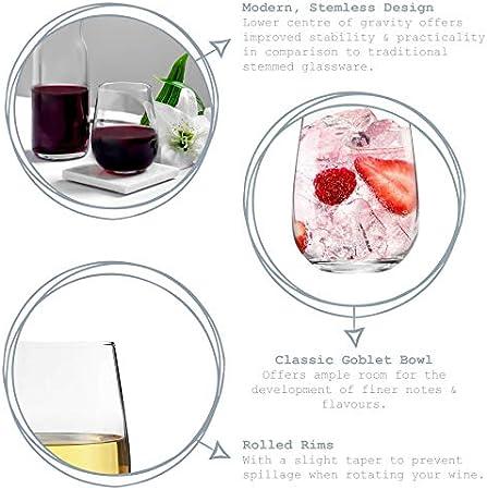Argon Tableware 6 Pieza Gin Tonic Corto sin pie y Vasos, Decorado con Estilo Moderno - Vasos de Cristal Globo para G & T, cócteles, Vino - 590ml