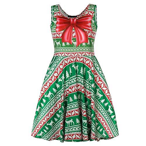 Fancyqube Women's Summer Sleeveless Cute Print Mini Flare Dress (L, Christmas Green 01)]()