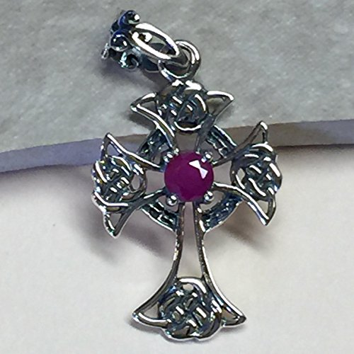 Gorgeous Ruby 925 Solid Sterling Silver Cross Pendant 36mm Long