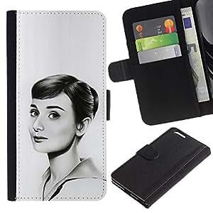 LECELL--Cuero de la tarjeta la carpeta del tirón Smartphone Slots Protección Holder For Apple Iphone 6 PLUS 5.5 -- HEPBURN DIBUJO HERMOSA --