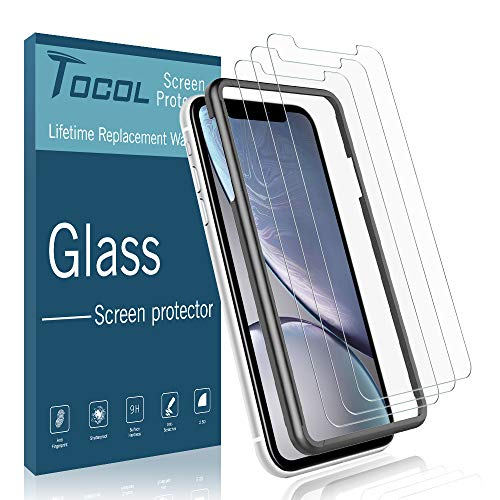 (TOCOL [3 Pack] Screen Protector for iPhone XR, [Alignment Frame Easy Installation] Double Free [Anti Scratch] HD Clear Tempered Glass Film with Lifetime Replacement Warranty)