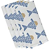 E by design Fish Tales, Animal Print Napkin, 19 x 19'', Blue