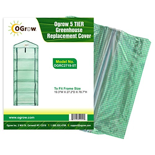 Ogrow 5 Tier Greenhouse PE Replacement Cover, 19.3 x 27.2 x 78.7-Inch