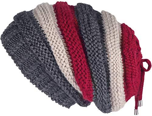 (Lilax Knit Slouchy Oversized Soft Warm Winter Beanie Hat Gray-Burg Stripe)