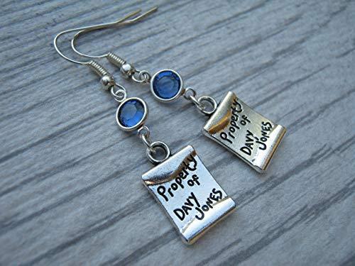 Davy Jones Birthstone Earrings, Personalized Pirate Earrings, Treasure Map Earrings, Beach, Pirates -