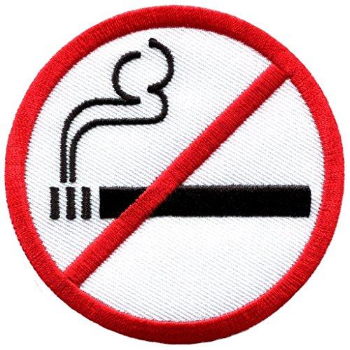 No Smoking Sign Symbol Warning Cigarette Smoke Applique Iron-on Patch New -
