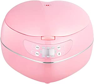 HMLH home insulation function electric steamer, mini heart-shaped dormitory rice cooker, can be cooked quickly, porridge/soup (1.8L),Pink