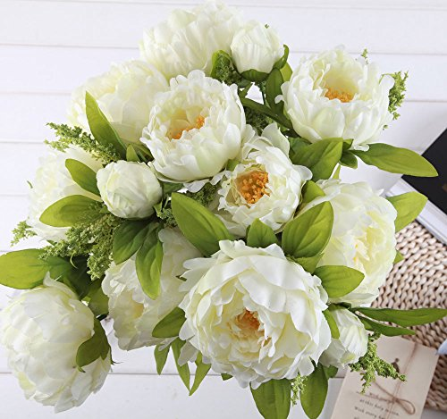 1 Bunch Hight Quality Fake Peony Artificial Flower Bouquet Home Office Decor White