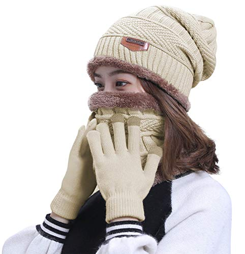 HINDAWI Slouchy Beanie Scarf Gloves Set Women Winter Hat Warm Skull Cap Scarves Touch Screen Mittens
