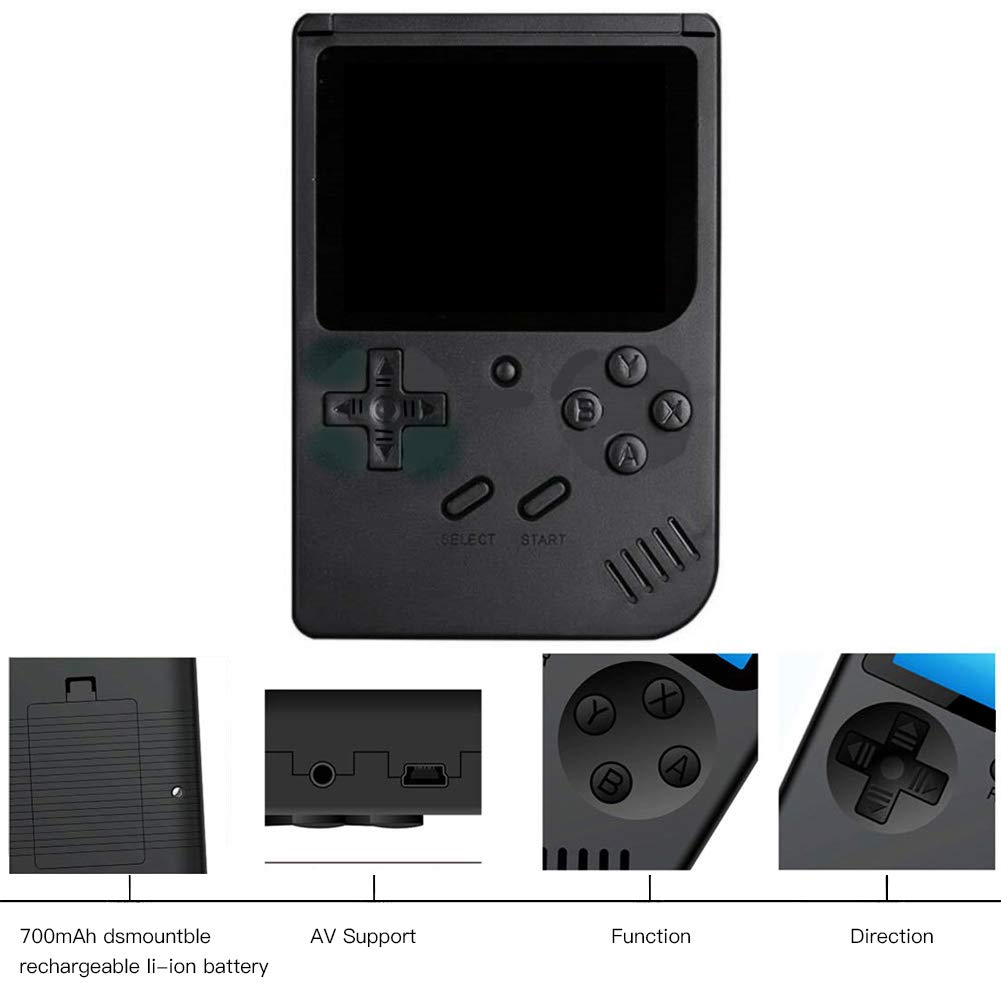 RoJuicy Mini Handheld Game Console, Retro FC Game Console, Video Game Console with 3 Inch Color Screen 400 Classic Games Support TV Video Game Player tick for Birthday Presents by RoJuicy (Image #3)