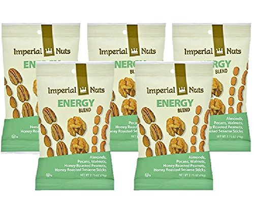 Healthy Snack Trail Mix Energy Blend Almonds Pecans Walnuts Honey Roasted Peanuts and Sesame Sticks 5 2.75 Ounce Bags