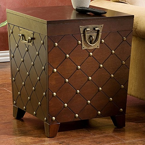 - ModHaus Living Elegant Design Wood Side Table Trunk with Gold Nailheads in Espresso Finish - Includes (TM) Pen
