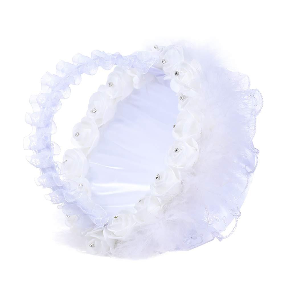 Paniers de Fille de Fleur Dentelle de Mariage Satin Faux Perle Strass Bow Crystal Decor Vintage Panier de Fleurs de mari/ée pour la f/ête de Mariage de c/ér/émonie