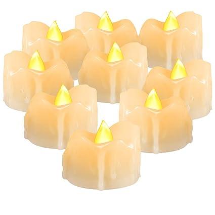 Amazoncom Beichi Flameless Led Tea Lights With Timer Amber Yellow