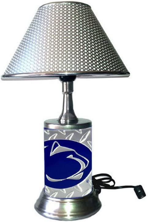 JS Table Lamp with Chrome Colored Shade Penn State Nittany Lions Plate Rolled in on The lamp Base Base Wrapped with Diamond Metal Plate