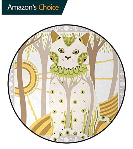 Cat Modern Machine Washable Round Bath Mat,Exquisite Stylized Magic Cat With Ethnic Ornaments Fantasy Forest Artistic Framework Non-Slip Living Room Soft Floor Mat Diameter-47 Inch,Multicolor
