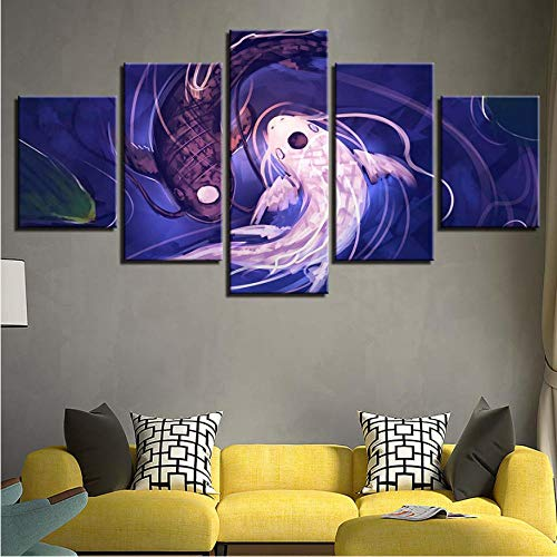 Canvas Home Decor Living Room Paintings 5 Pieces Koi Yin Yang Fish Avatar Pictures HD Printed Poster Work Modular Wall Art-30x40cmx2/30x60x2cm/30x80cmNo Frame