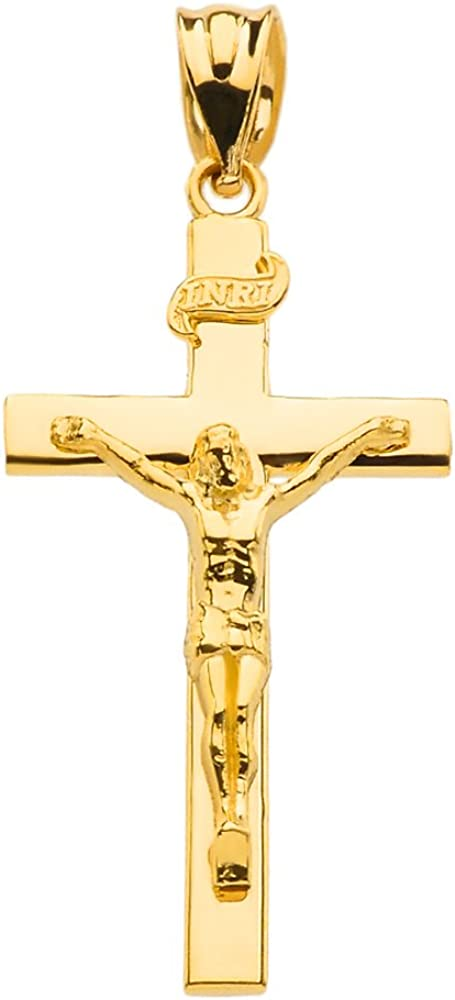 14k Yellow /& White Gold Crucifix Cross Religious Charm Pendant INRI