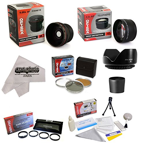 Ultimate 15 Piece lens Kit For Olympus EVOLT E-330 E-300 E-420 E-520 E-410 E-400 E3 E-500 E-550 E-450 E-510 Package Includes 0.20X Super Wide Angle Fisheye lens, 5 PC Close-Up Set (+1, +2,+4 with 10X Macro Lens) , 2.2x HD AF Telephoto Lens + 3 Piece Pro Filter Kit (UV, CPL, FLD) + Tube Adapter + Deluxe Lens Cleaning Kit + LCD Screen Protectors + Mini Tripod + 47stphoto Microfiber Cloth Photo Print ! ()