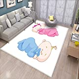 Baby Bath Mats for Floors Two Charming Little Twin Siblings Brother and Sister Sleeping in Pajamas Toddler Door Mat Indoors Bathroom Mats Non Slip Pink Blue Tan