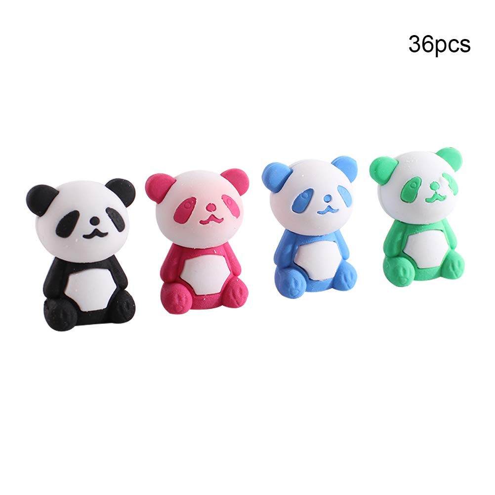 Ozzptuu 36Pcs Cartoon Panda Shape Pencil Erasers Stationery Tool for Kids Children Students
