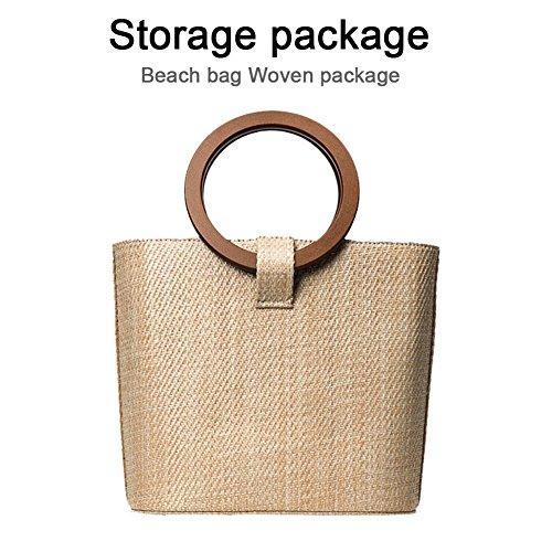 23 Cubo bolso del paquete tejida Memoria playa Forma 22 de Bolso Vino nbsp; nbsp;CM paja mujer nbsp; piratería paja Lectura Bolsa 12 xaB6q