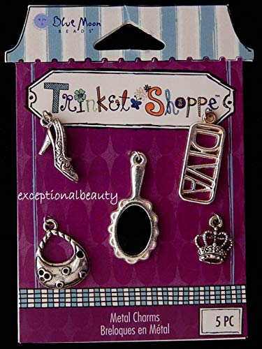 Silver Charm Set Diva Girl Crown Shoe Purse Mirror Blue Moon Trinket Shop -