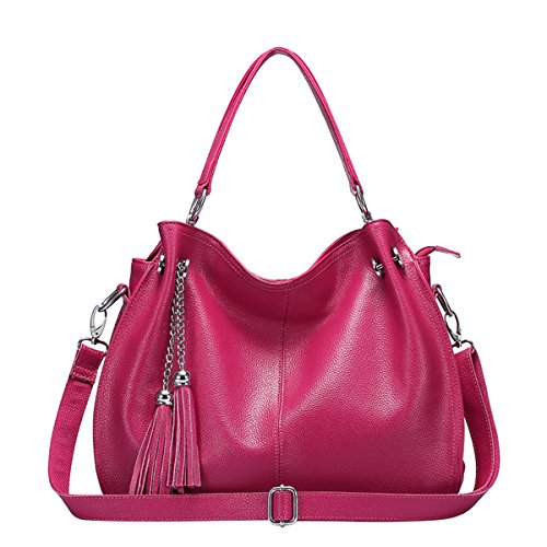 Tassel Hobo Micom Bag with Split Women Shoulder Tote Leather Rose Trims Red r7xY8Xq7w