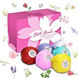 Enther Bath Bombs Gift Set, 6 Pack Large Size (3.18 Oz/ea) Handmade Organic Essential Oil Bathbombs for Adults and Kids, Perfect for Bubble Bath, Pearl Aromatherapy Bath Bomb in Gift Box (Flowers)