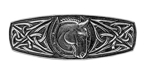 Celtic Horseshoe Hair Clip - Hand Crafted Metal Barrette Made in the USA with imported French Clips By Oberon Design