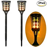 Solar Torch Path Light Wall Light 96 LED Dancing Flame Lamp Flickering Torch IP65 Waterproof Cordless Table Lamp Landscape Light Dusk to Dawn Auto On/Off for Garden Patio Yard Driveway Pathway, 2 Pack