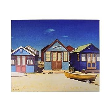Margaret Heath grande de tres azul de casetas de playa lienzo cuadro de madera 40 x