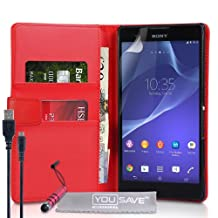 Yousave Accessories Sony Xperia T2 Ultra Case Red PU Leather Wallet Cover With Mini Stylus Pen And Micro USB Cable