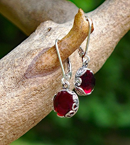 - Recycled Vintage 1940's Red Beer Bottle Sterling Silver Botanical Leverback Earrings
