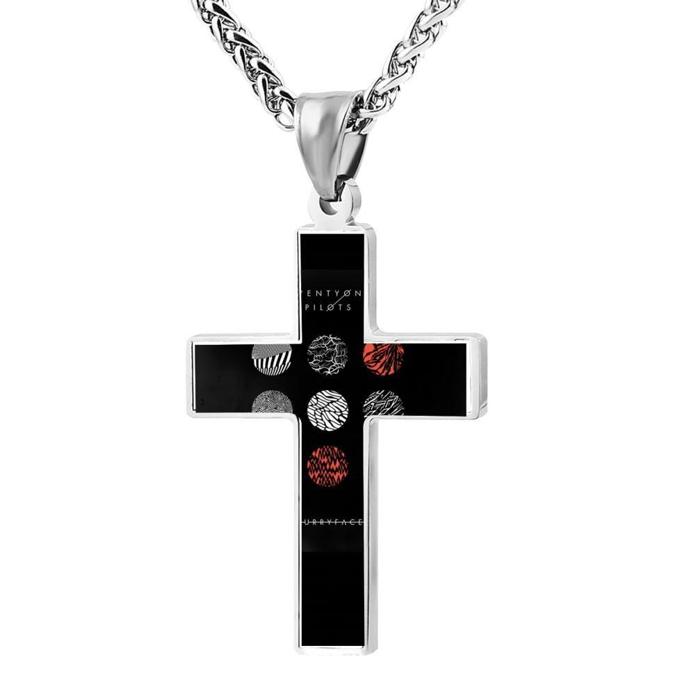 Kenlove87 Patriotic Cross 21 One Pilots Logo Religious Lord'S Zinc Jewelry Pendant Necklace