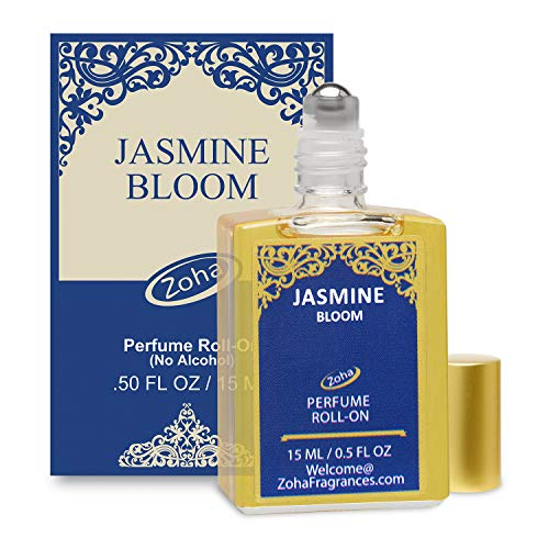 Jasmine Bloom Perfume Oil Roll-On (No Alcohol) Jasmine Oil Fragrance - Essential Oils and Perfumes for Women and Men by Zoha Fragrances, 15 ml / 0.50 fl Oz ()