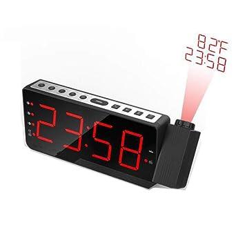 Radio FM Reloj Despertador con Tiempo De Proyección Temperatura Mesa De Mesa Electrónica Mesita De Noche Proyector Reloj Nixie Reloj Digital,Blackredlight: ...