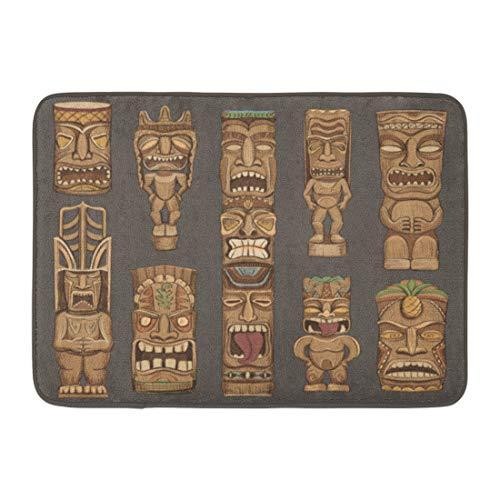 Emvency Doormats Bath Rugs Outdoor/Indoor Door Mat Brown Mask Collection of Wooden Tiki Idols Beautiful Color Totem Bar Luau Bathroom Decor Rug Bath Mat 16