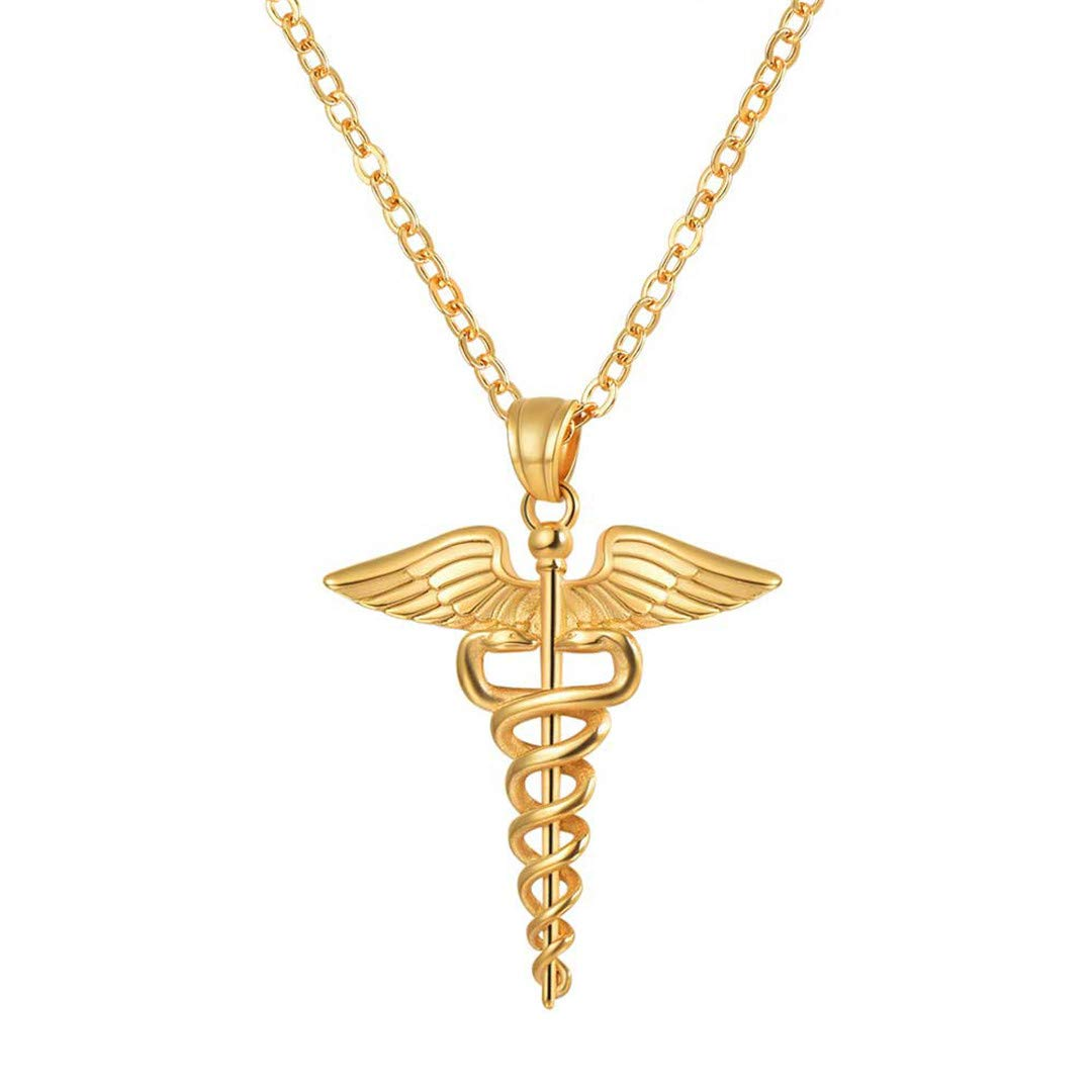 LIVEGNS Caduceus Necklace Graduation Doctor Gift Unisex Stainless Steel Gold Symbol Angel Wing Snake Necklace P3238 Black Gun Plated by LIVEGNS (Image #2)