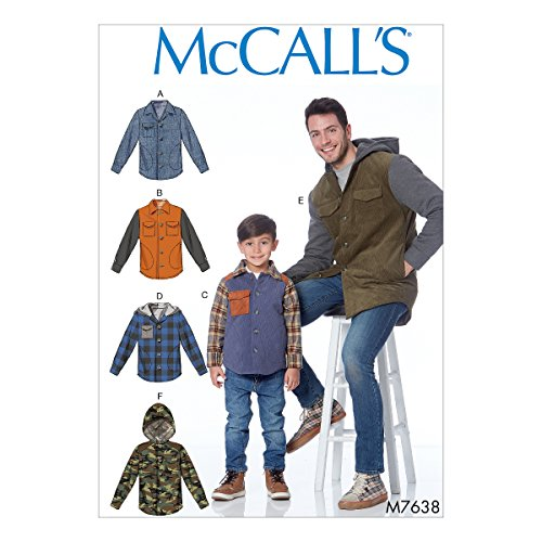 McCall's Patterns M7638MEN Men's and Boys' Lined Button-Front Jackets with Hood Options Sewing Pattern, SML-MED-LRG-XLG ()