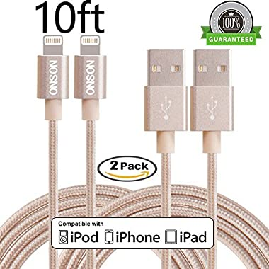 ONSON iPhone Cable,2Pack 10FT Nylon Braided Lightning Cable USB Cord Charging Cable for iPhone 7/7 Plus,6/6S/6 Plus/6S Plus,5/5S/5C/SE,iPad,iPod Nano 7,iPod Touch (Gold)