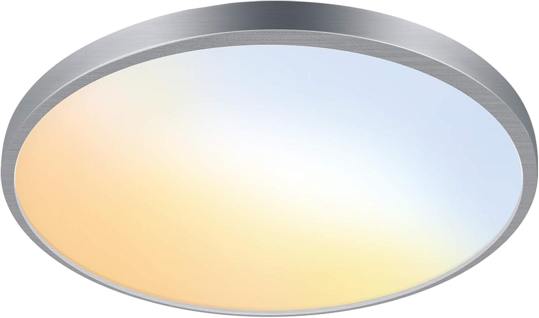 [Energy Star] 15 Inch Dimmable LED Slim Ceiling Light Fixture, 5 CCT Adjustable 2700K-6500K, 20W 1500lm, CRI90+, Flush Mount Ceiling Light for Laundry, Kitchen, Closet, Hallway, ETL Listed
