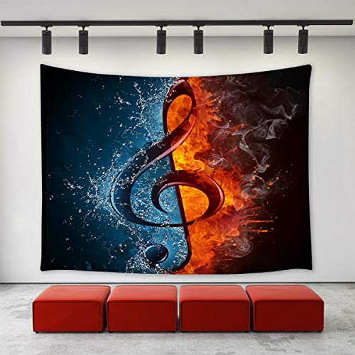 LONGBF Music Note Tapestry Wall Hanging, Abstract Fire and Water Splashing Music Note Melody Tapestry Home Decoration Wall Decor Art Tapestries for Bedroom Living Room College Dorm 60
