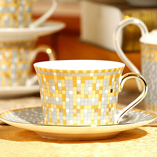 (Surhel Mosaic Tile Coffee Cup and Saucer Milk Tea Bone China Cup and Saucer Afternoon Tea Set with Spoon)